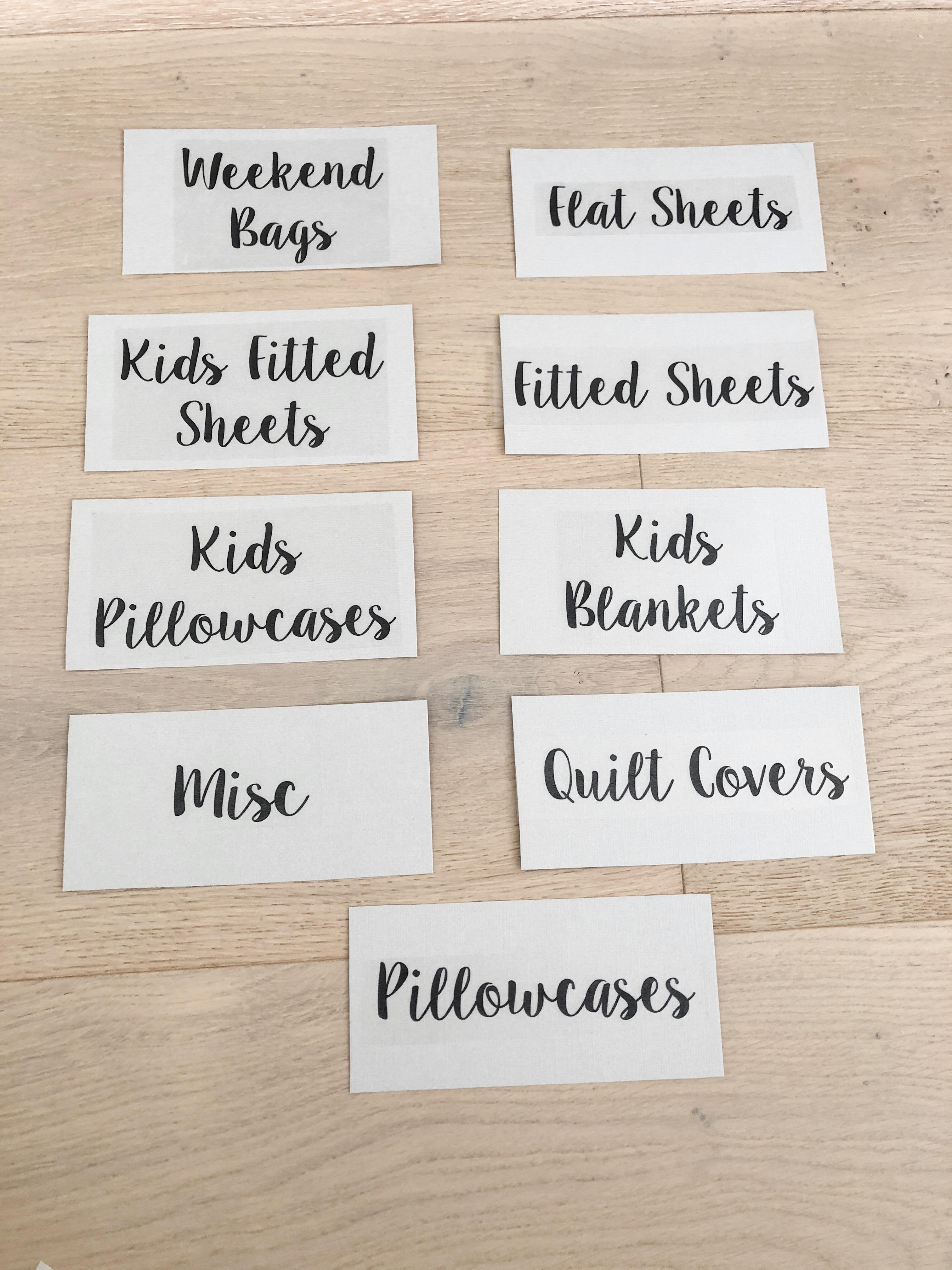 linen closet labels